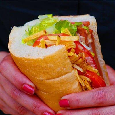 Halal Sandwich in Hand