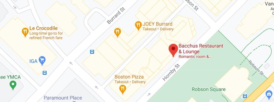 Bacchus Restaurant & Lounge Location