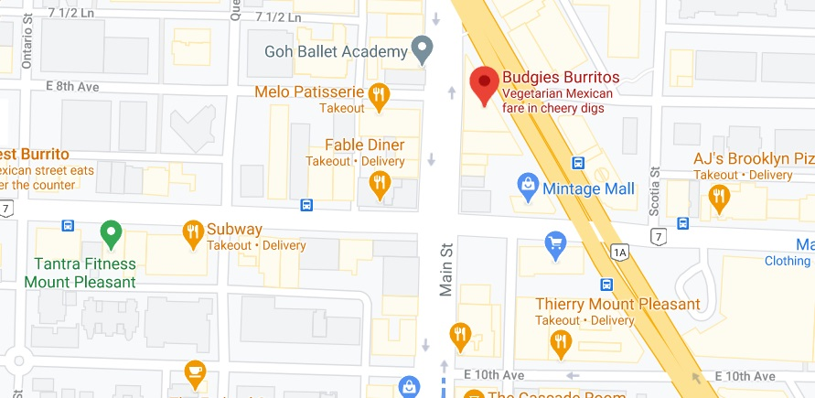 Budgies Burritos Location