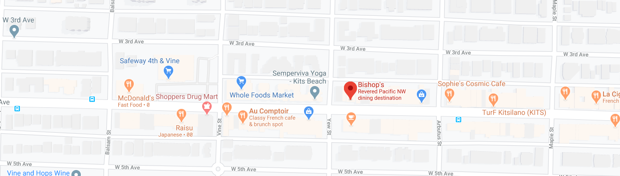 Bishop's (Opening hours: 5:30 PM - 11 PM)