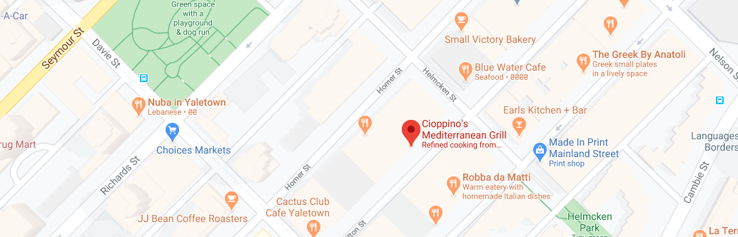 Cioppino's Mediterranean Grill (Opening hours: 5 PM - 10:30 PM)