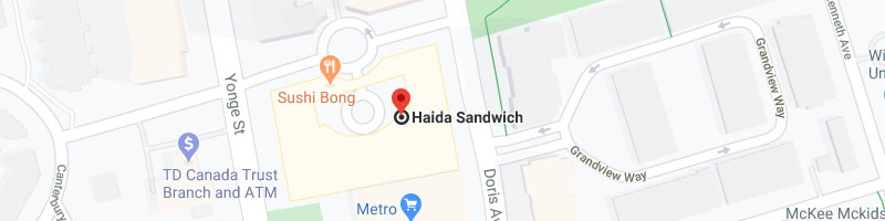 Haida catering (offering delivery services to Bayview Village)