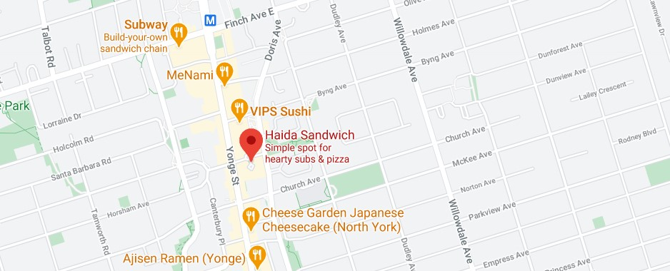 Haida Sandwich (Offering delivery service to Cabbagetown)