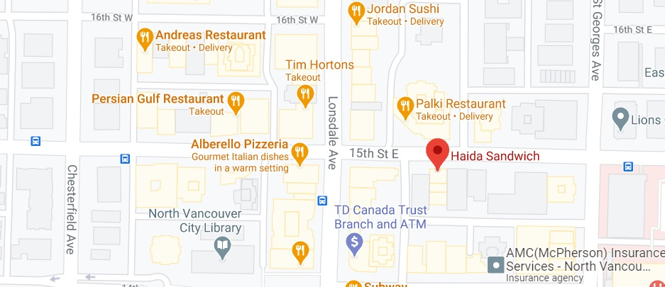 Haida Sandwich (offering delivery service to Stanley Park Dr)